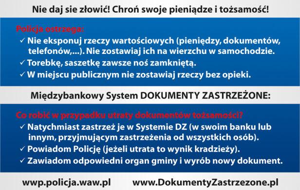 """Takie dokumenty rozdaje policja w czasie akcji """"Nie daj się złowić"""" ksp.waw.pl"""