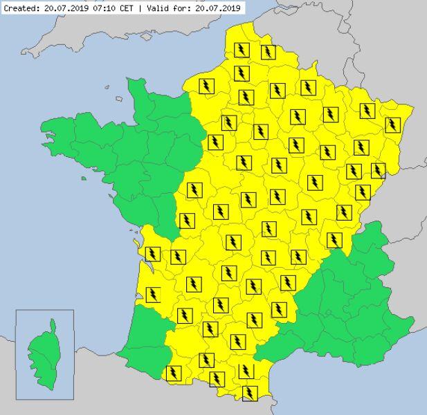 Aktualne ostrzeżenia meteorologiczne we Francji (meteoalarm.eu)