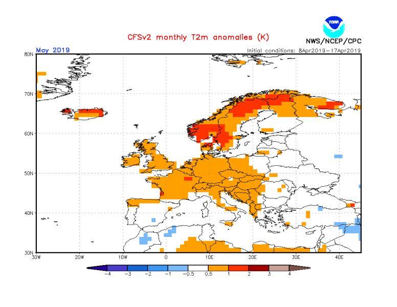 Mapa prognozy odchylenia średniej miesięcznej temperatury maja 2019 (źródło: NOAA)