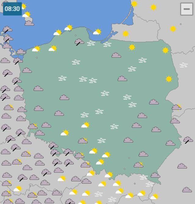 Rozmieszczenie mgieł nad Polską o godz. 8 (wetteronline.de)