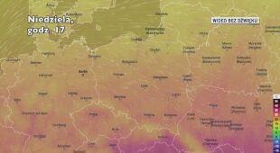 Prognozowana temperatura w kolejnych dniach (Ventusky.com)