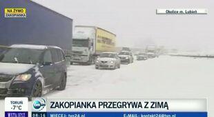 Reporterka TVN24 o wielokilometrowych korkach na Zakopiance (TV)